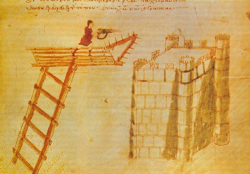 Bizantyjczycy dysponowali również ręcznymi miotaczami ognia greckiego (domena publiczna).