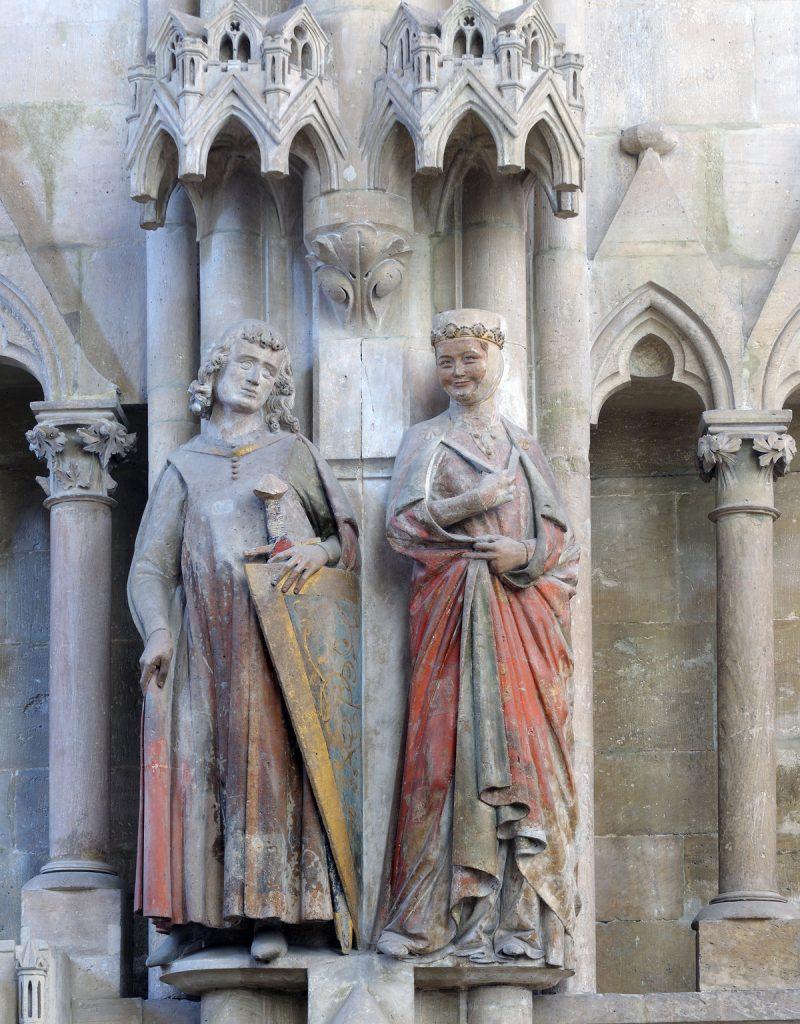 Również średniowieczne kamienne rzeźby były kolorowe. Na zdjęciu podobizny Hermanna i Regelindy w katedrze w Naumburg (Matthias Rutkowski/CC BY-SA 4.0).