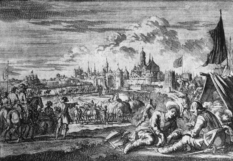 XVII-wieczne wyobrażenie Polaków wkraczających do Moskwy (domena publiczna).