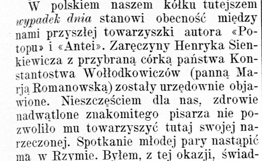 """O zaręczynach Sienkiewicza pisał między innymi wydawany w Petersburgu tygodnik """"Kraj"""" (domena publiczna)."""