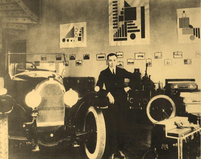 Henryk Berlewi pozuje przed swoimi pracami wystawianymi w salonie Austro-Daimler przy ulicy Wierzbowej 6 (domena publiczna).