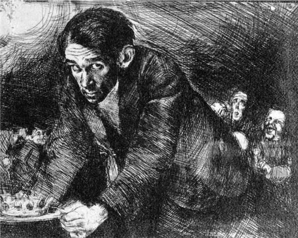 Jednym z nauczycieli młodego Dominika był Bruno Schulz. Na ilustracji jego autoportret (domena publiczna).