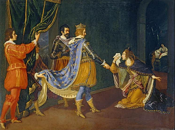 Izabela Aragonska kleczaca przed Karolem VIII (Giovanni Bilivert/domena publiczna).
