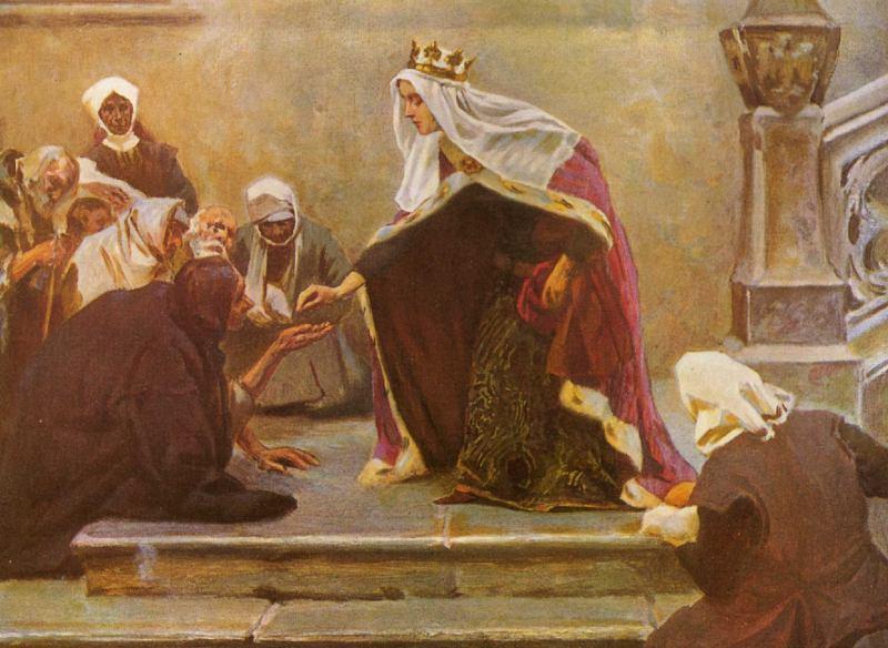 Królowa Jadwiga rozdająca jałmużnę ubogim (domena publiczna).