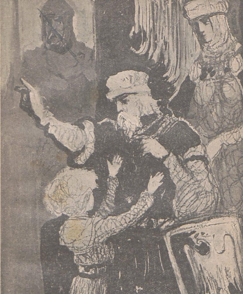 Władysław Herman z synem Bolesławem. Ilustracja XIX-wieczna.