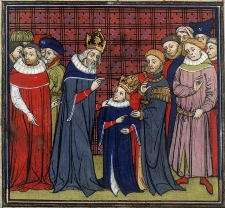 Późnośredniowieczne wyobrażenie Karola Wielkiego i Ludwika Pobożnego (domena publiczna).