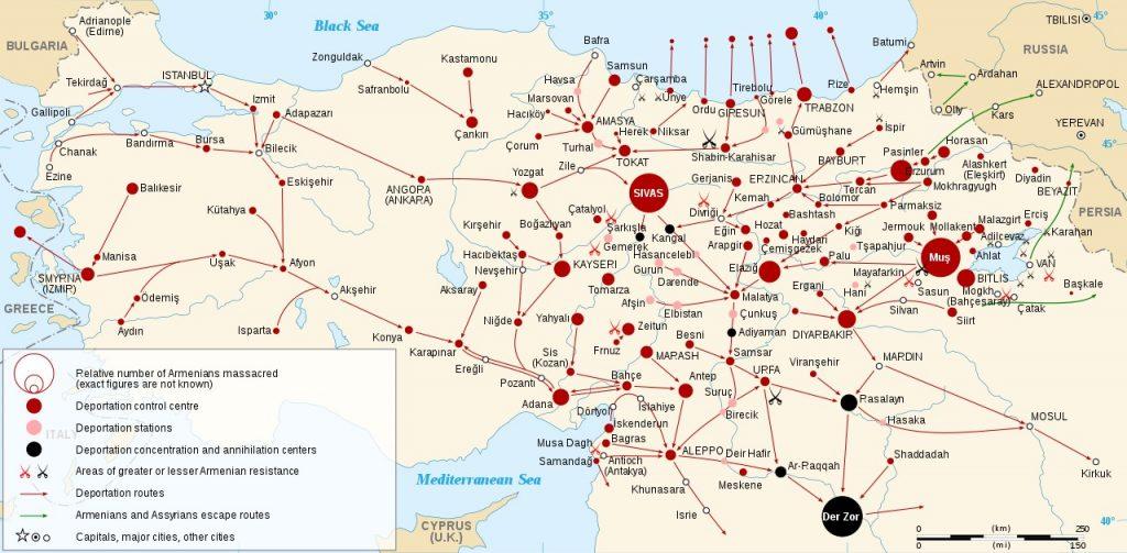 Mapa z oznaczonymi miejscami masakr Ormian oraz obozami koncentracyjnymi. gdzie ich przetrzymywano (Sémhur/CC BY-SA 3.0).