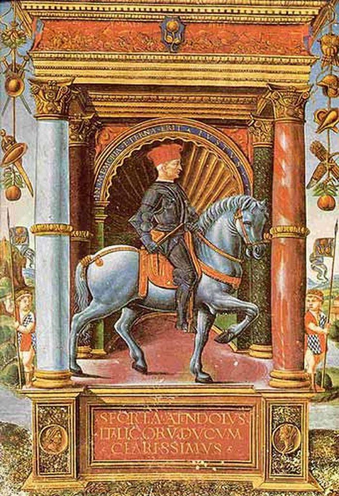 Muzio Attendolo zwany Sworza dochował się sporej gromadki nieślubnych dzieci (domena publiczna).