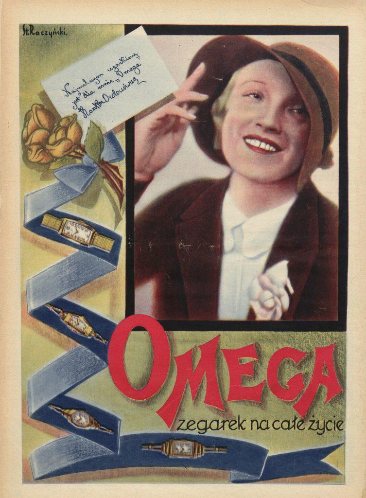 Hanka Ordonówna w reklamie zegarków Omega (domena publiczna).