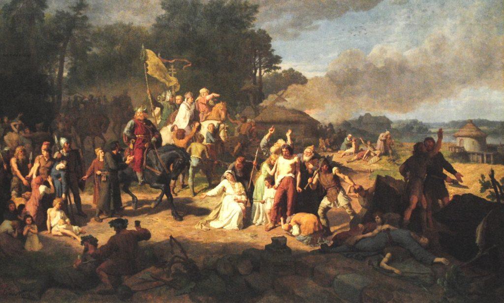 Opłakane apostolstwo. Obraz Wojciecha Gersona przedstawia efekty chrystianizacji Połabia przez Niemców (domena publiczna).