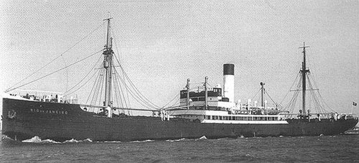 """Parowiec """"Rio de Janeiro"""". To właśnie tę jednostkę zatopił """"Orzeł""""."""