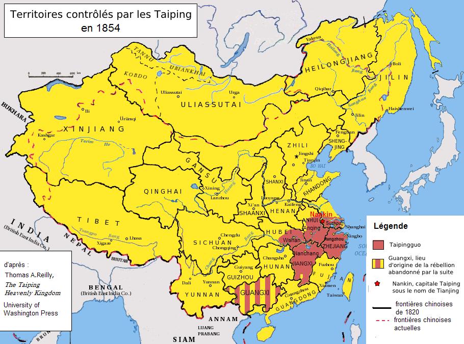 Terytoria opanowane przez tajpingów do 1854 roku (Zolo/CC BY-SA 3.0).