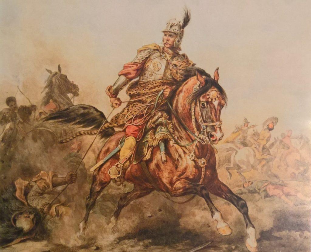 Polski husarz zarabiał niemal dwa razy mniej niż jego francuski odpowiednik (Juliusz Kossak/domena publiczna).