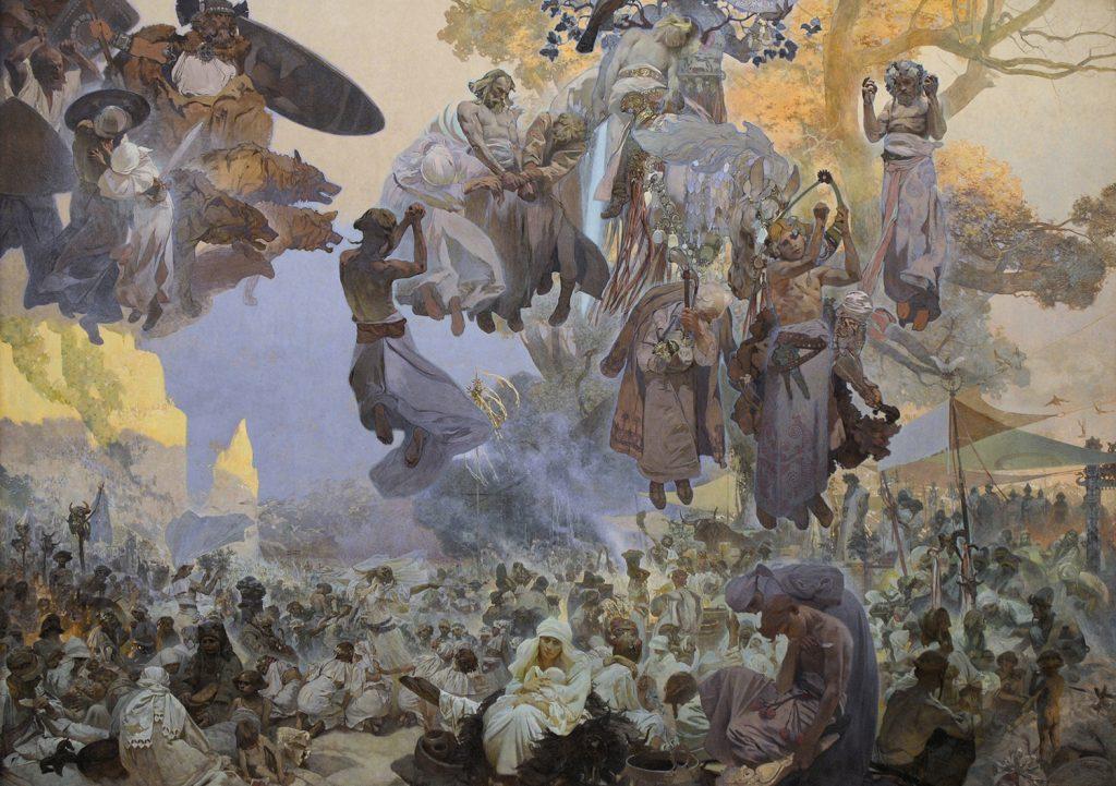 """""""Święto Światowida"""", obraz Alfonsa Muchy (domena publiczna)."""