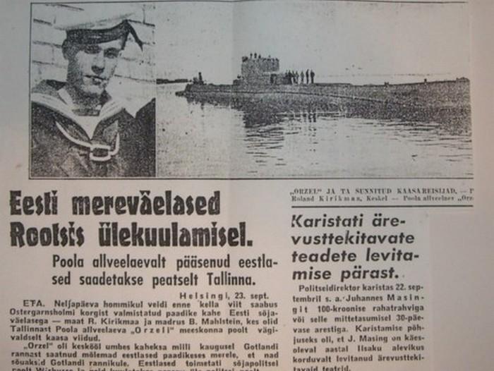 Artykuł w estońskiej gazecie opisujący ucieczkę Orła (domena publiczna).