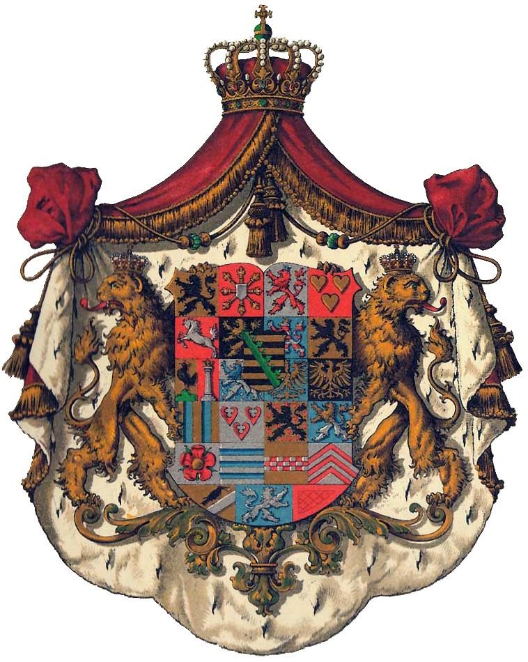 Herb dynastii Sasko-Koburskiej (Hugo Gerhard Ströhl/domena publiczna).