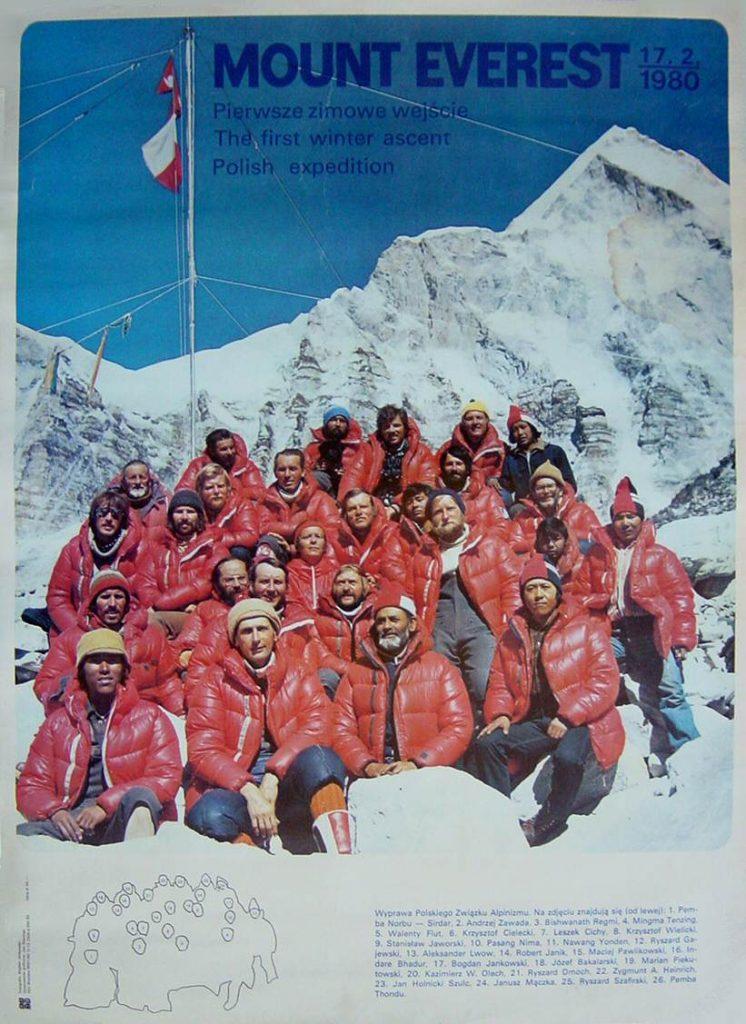 Wyprawa Polaków w Himalaje na przełomie 1979 i 1980 roku była przełomowa - po raz pierwszy udało się zdobyć Mount Everest zimą (domena publiczna).