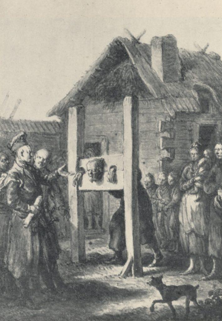 Nieszczęśnik zakuty w gąsior (Jan Piotr Norblin/domena publiczna).