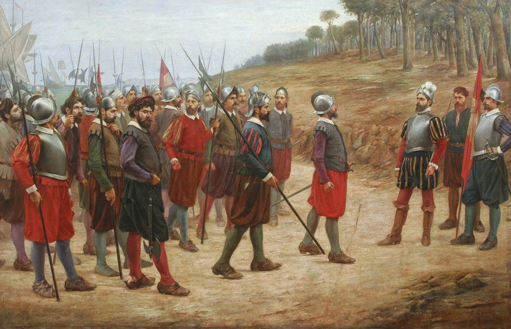 Francisco Pizarro i jego ludzie ruszają na podbój Peru (Juan Lepiani/domena publiczna).