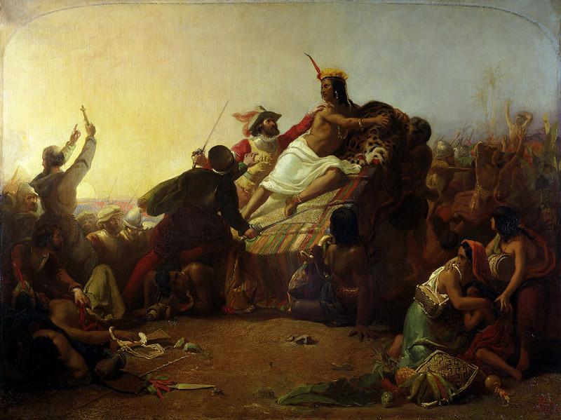 Pojmanie Atahualpy przez Pizarra na obrazie Johna Everetta Millaisa (domena publiczna).