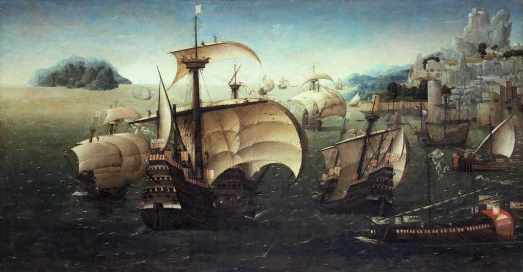 Portugalczycy czerpali olbrzymie korzyści z handlu towarami  pochodzącymi z Azji (domena publiczna).