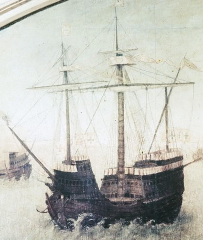 Ciężka portugalska karaka. Między innymi takie okręty wzięły udział w bitwie z Chińczykami (domena publiczna).