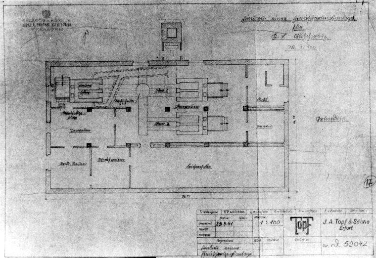 Projekt jednego z krematoriów w Birkenau, przygotowany przez firmę Topf & Söhne (domena publiczna).