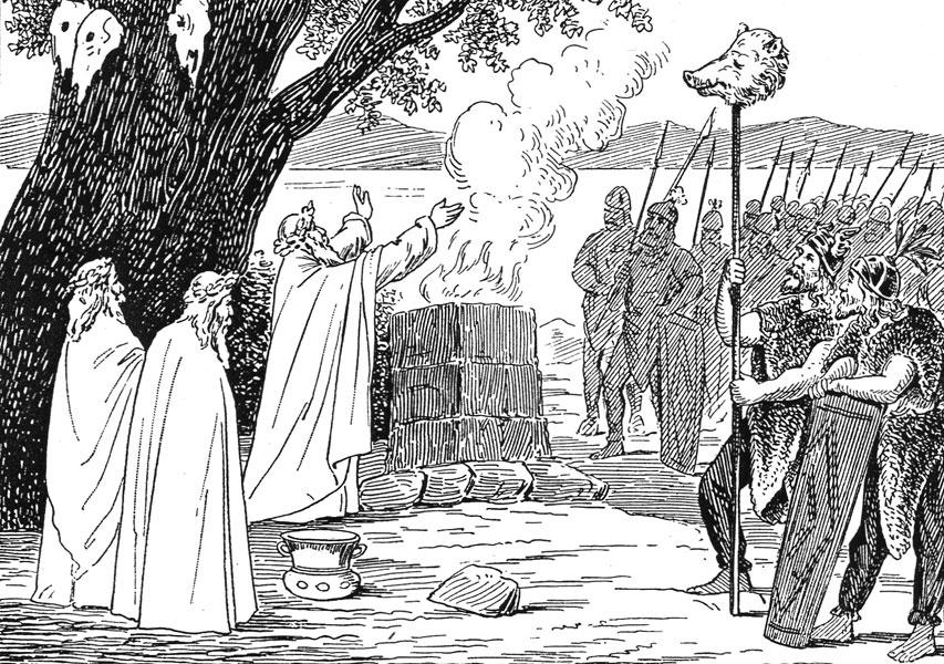 Tak naprawdę wiemy bardzo niewiele na temat pierwotnych wierzeń Słowian. Na ilustracji XIX-wieczne wyobrażenie słowiańskich kapłanów (domena publiczna).