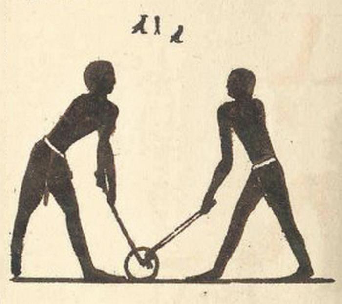 Przestawienie jednej z egipskich gier z użyciem piłki (domena publiczna)