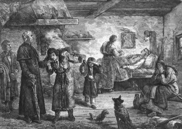 W latach 1847-1848 znaczną część Galicji dosięgła klęska głodu. Na ilustracji rysunek Bronisława Kamińskiego Niedola rolnika (domena publiczna).