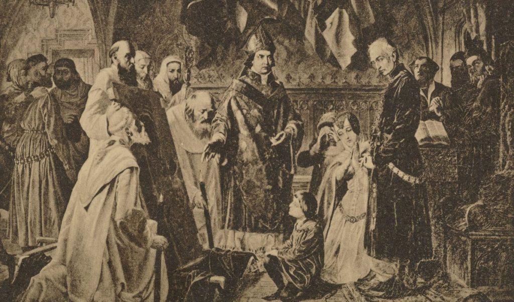 XIX-wieczny rysunek, na którym kardynał Oleśnicki pokazuje Władysławowi Jagielle obraz Matki Boskiej Częstochowskiej, rzekomo zniszczony przez husytów (F. Cynk/domena publiczna).