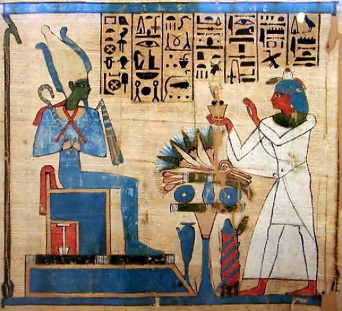 Podobizna Ozyrysa z Księgi Umarłych (domena publiczna).