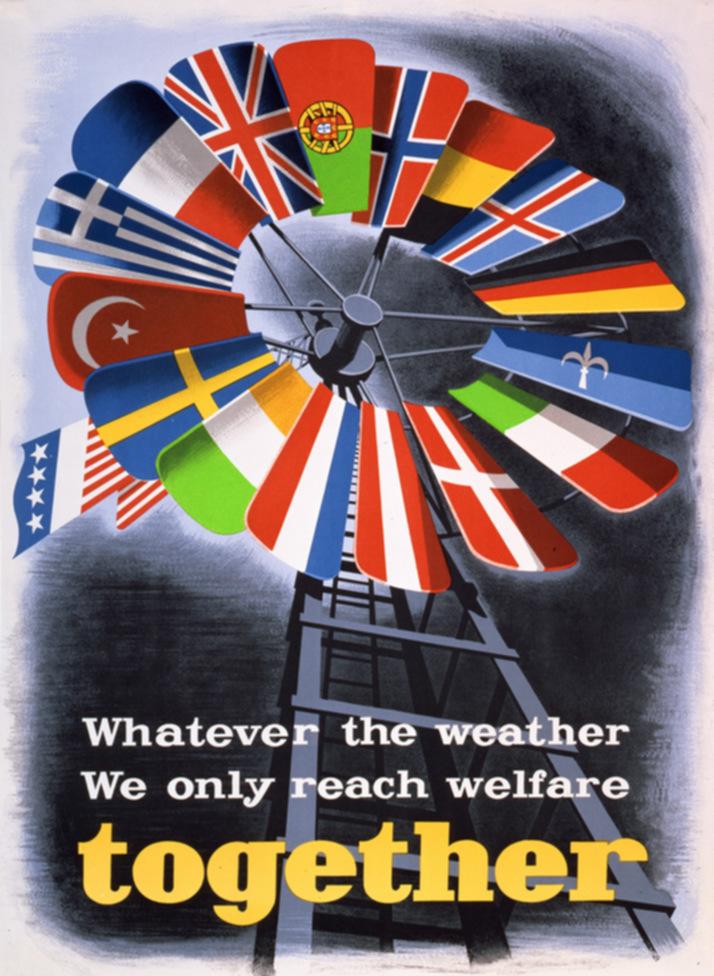 Plakat z 1950 roku promujący Plan Marshalla (E. Spreckmeester/domena publiczna).