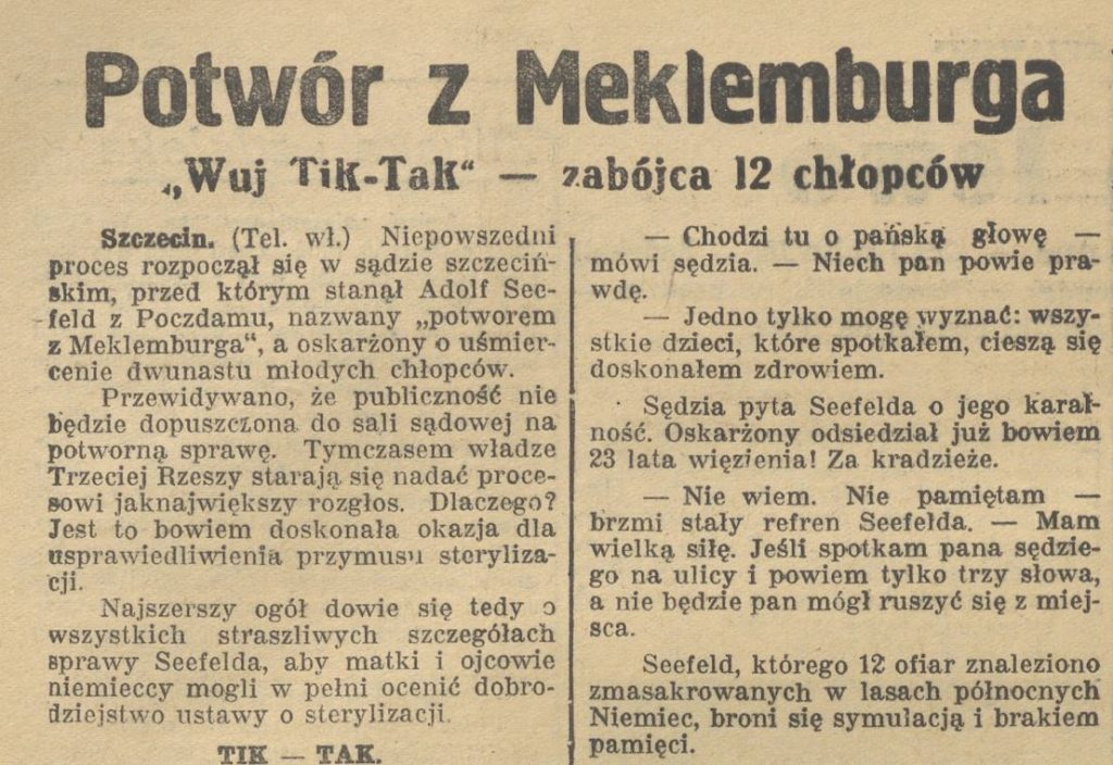 Również polska prasa żyła sprawą Seefelda (domena publiczna).