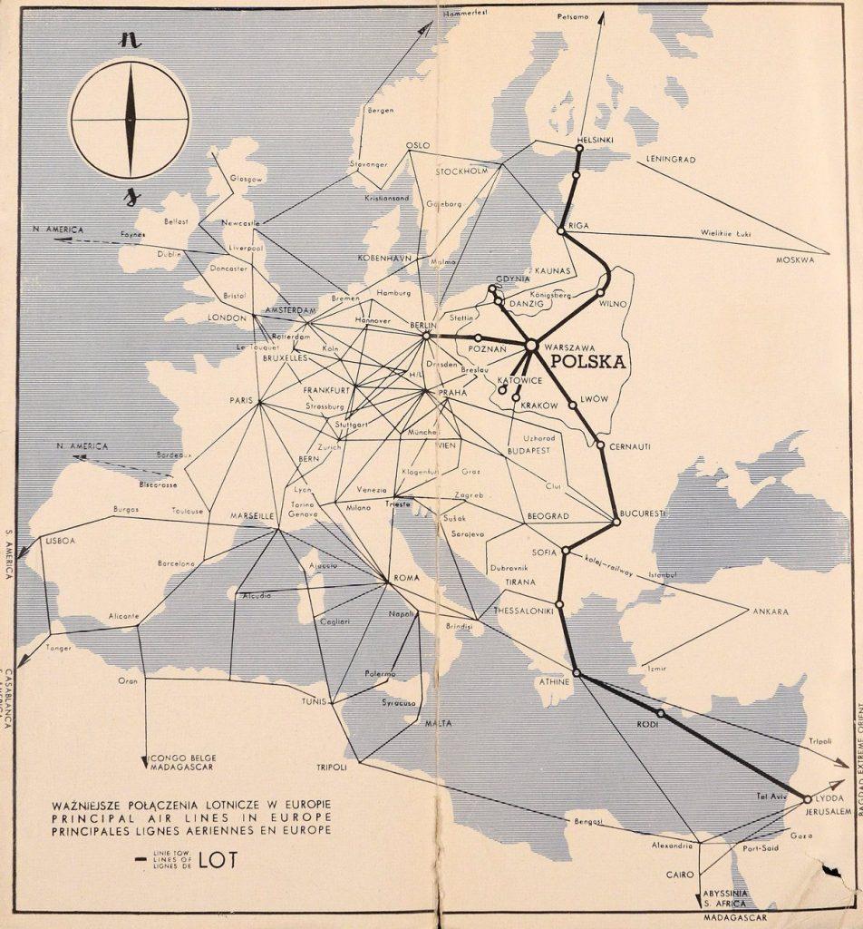 Feralny lot 22 lipca odbywał się na trasie z Warszawy do  Salonik (domena publiczna).