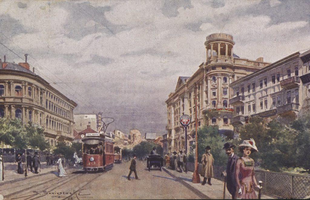 W Warszawie mogło umrzeć na hiszpankę w latach 1918-1920 łącznie około 2000 osób. Na ilustracji pocztówka z 1918 roku przedstawiająca Krakowskie Przedmieście (domena publiczna).