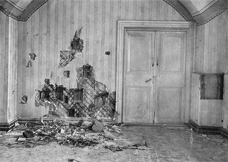 Pomieszczenie w domu Ipatiewa (Domu Specjalnego Przeznaczenia) w którym Romanowowie zostali rozstrzelani (domena publiczna).