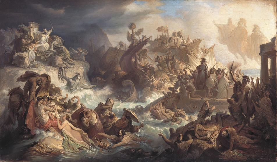 Po klęsce Kserksesa Byzantion zajęli najpierw Spartanie, a potem miasto dostało się pod wpływ Aten. Na i lustracji obraz Wilhelma von Kaulbacha przedstawiający bitwę pod Salaminą (domena publiczna).