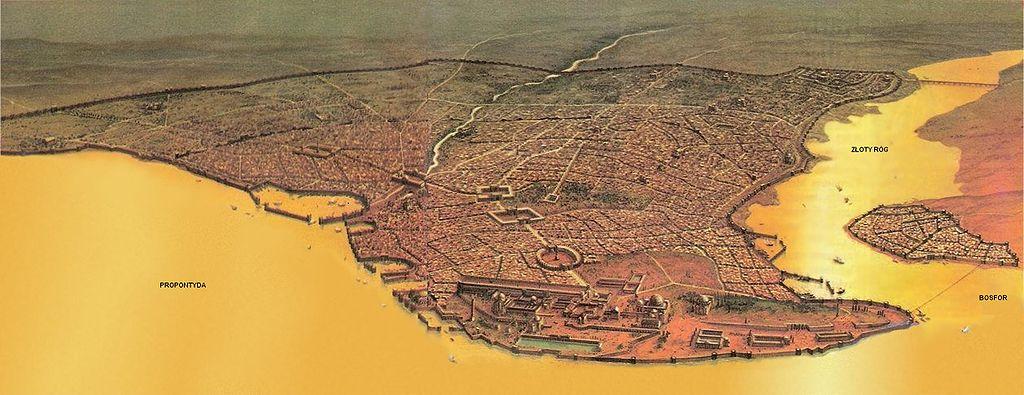 Po decyzji Konstantyna Byzantion, już jako Konstantynopol na ponad 1000 lat stał się stolicą imperium. Powyżej wizualizacja miasta z kresu Cesarstwa Bizantyńskiego (domena publiczna).