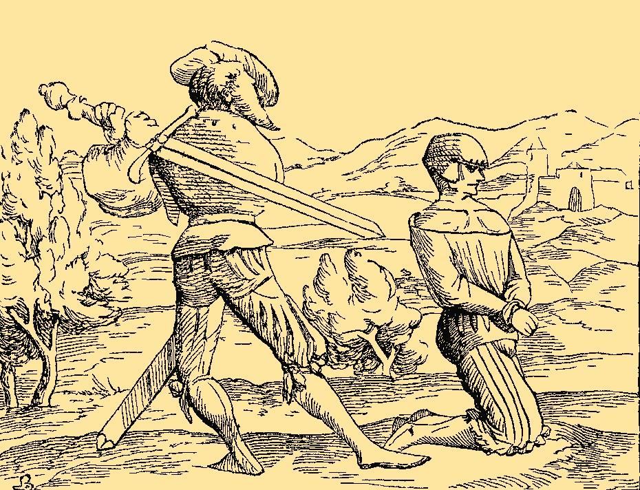 """W nowożytnej Polsce obowiązywała zasada, że """"kto mieczem na życie czyje nastawał, winien był od miecza śmierć ponieść"""" (domena publiczna)."""