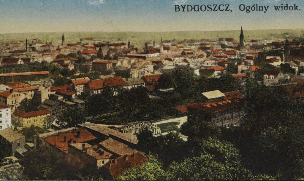 Bydgoszcz na przedwojennej pocztówce (domena publiczna).