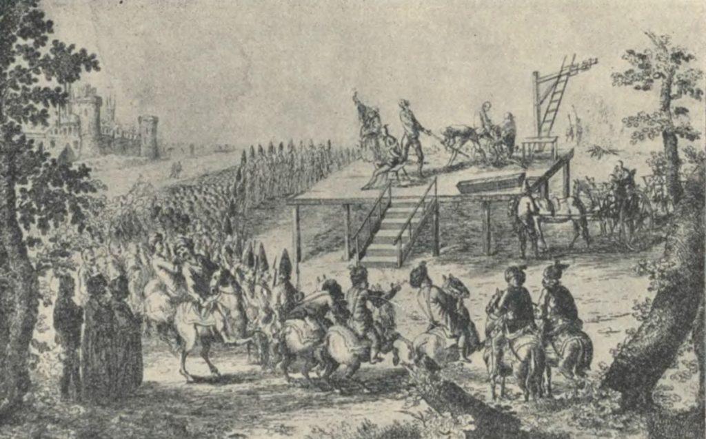 Egzekucja w czasach nowożytnych były krwawym spektaklem (domena publiczna).