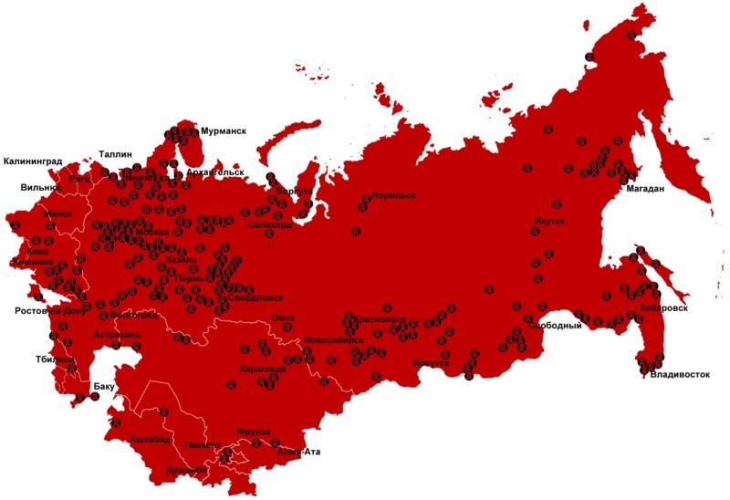 Mapa łagrów w ZSRR w latach 1923-1961 (Antonu/domena publiczna).