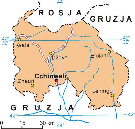 Osetia Południowa. Mapa według stanu sprzed wojny (fot. Aotearoa, lic. CC BY-SA 3.0)