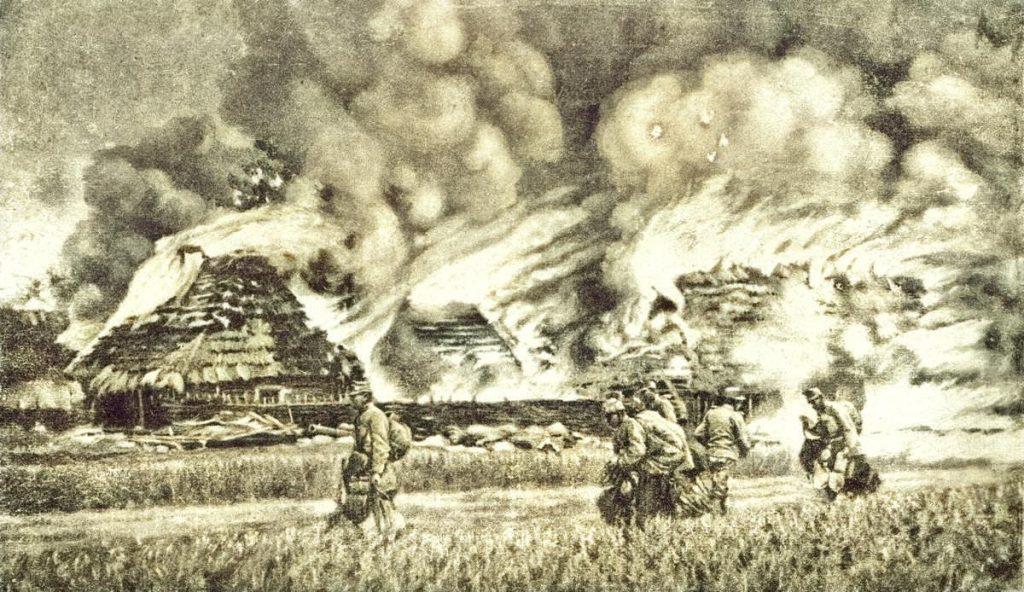 Płonąca wieś Żurawica pod Przemyślem. Maj 1915 roku (domena publiczna).