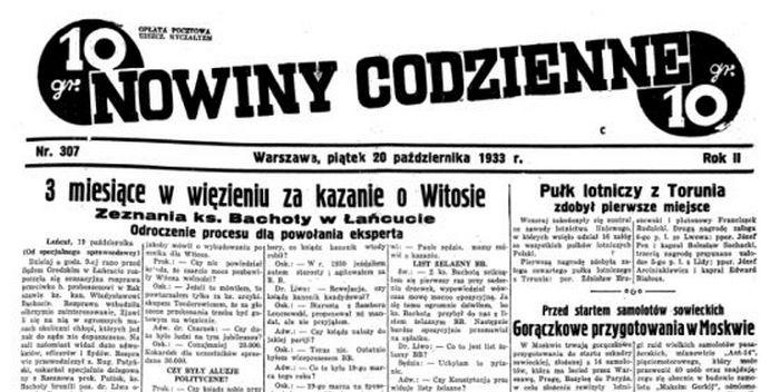 Prasa pisała o skazaniu księdza Bachoty na pierwszych stronach (domena publiczna).