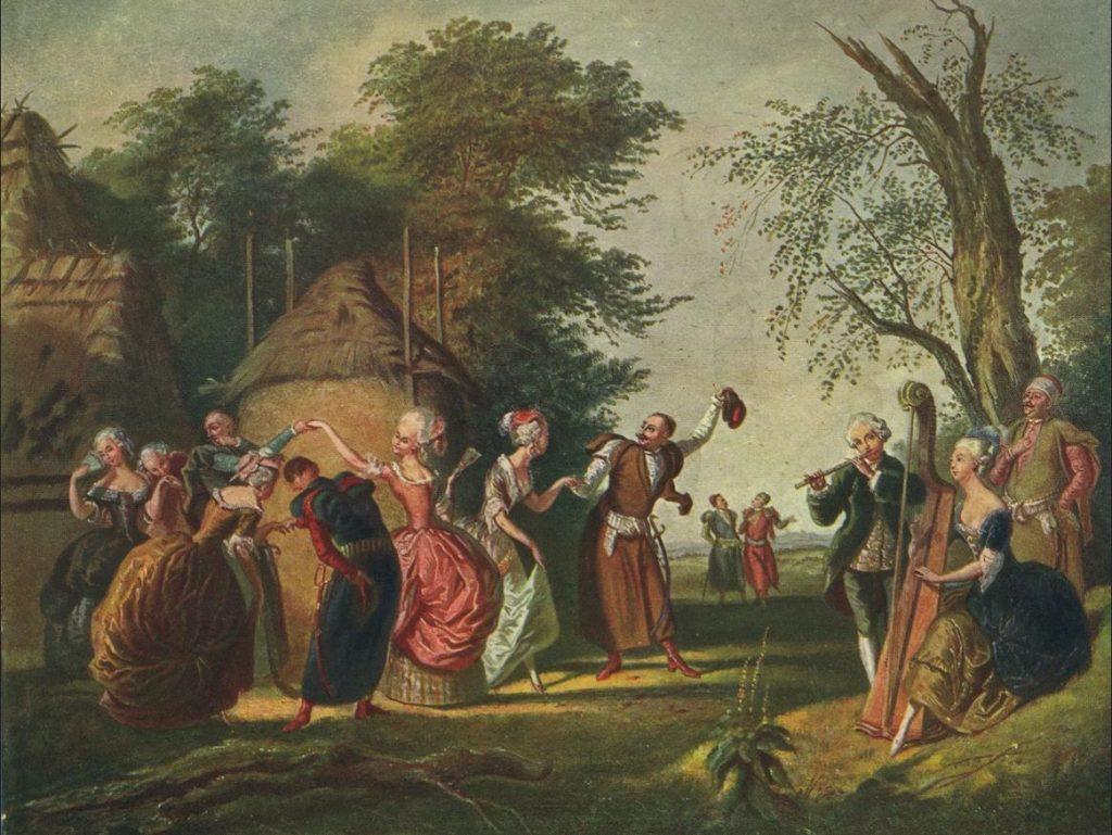 Szlachta również nie gustowała w wiosenno-letnich ślubach. Na ilustracji obraz Kornelego Szlegela Polonez pod gołym niebem (domena publiczna).