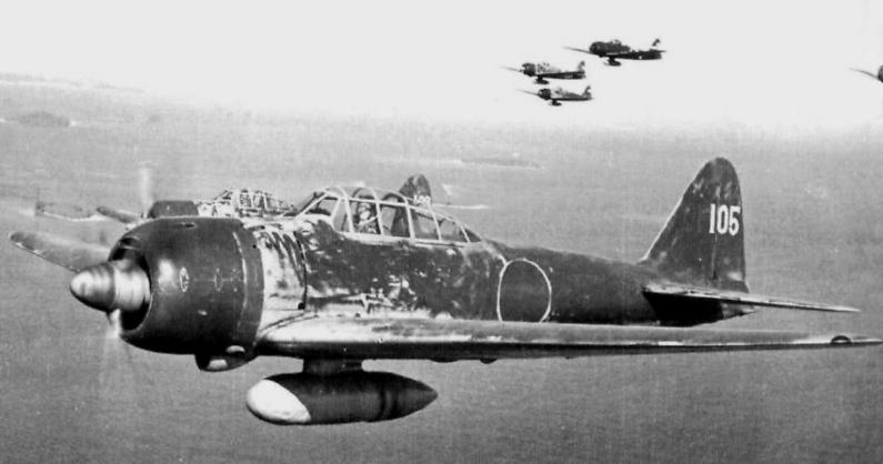 Pod koniec wojny myśliwce Mitsubishi Zero były już przestarzałą konstrukcją (domena publiczna).