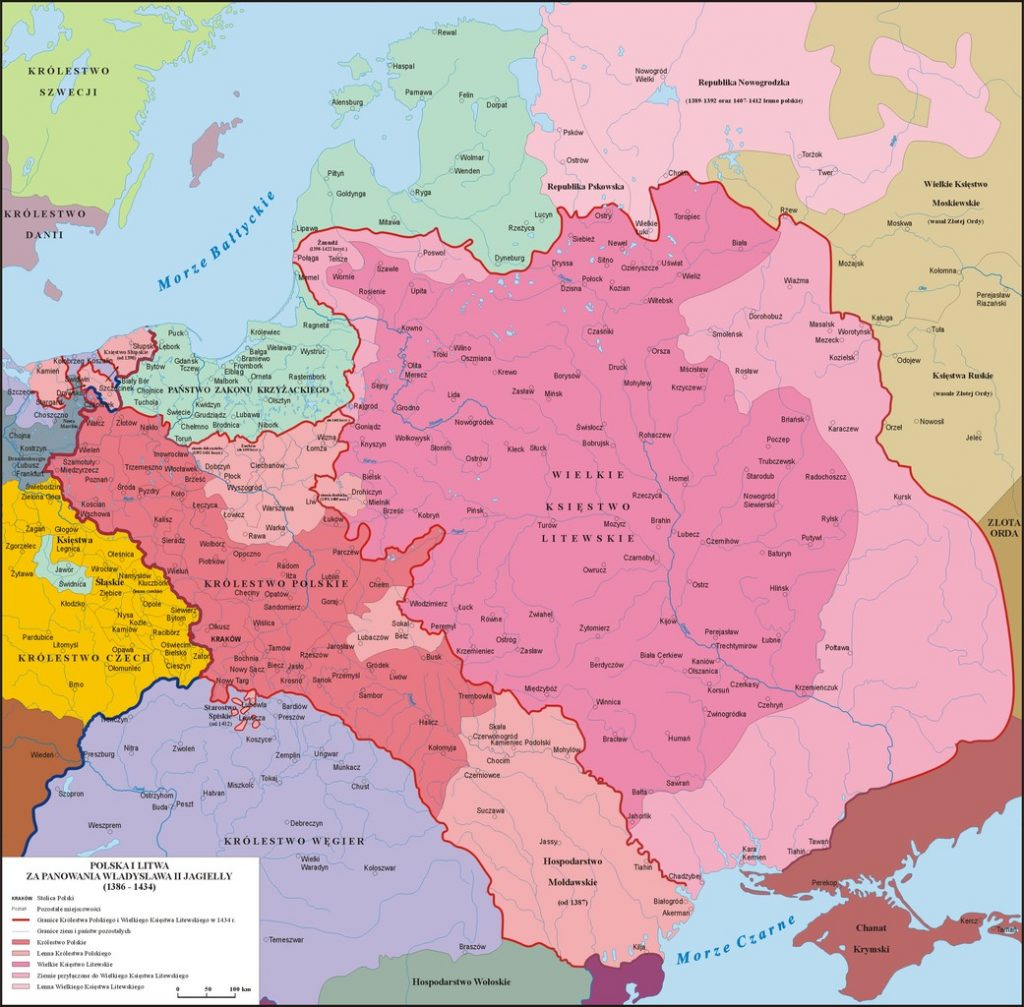 Polska i Litwa w latach 1386-1434 (Poznaniak/CC BY-SA 3.0).