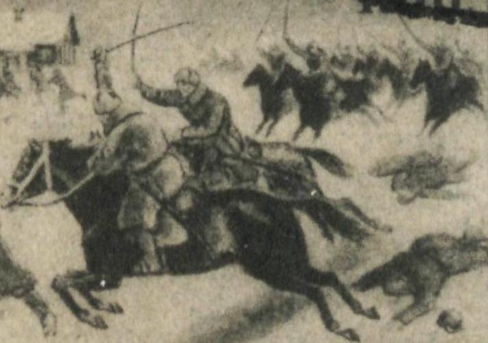 Szarża kawalerio Armii Czerwonej. Fragment sowieckiego znaczka pocztowego z 1942 roku (domena publiczna).